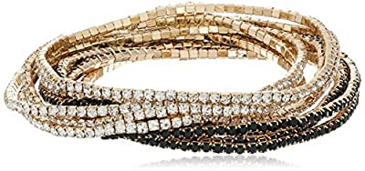 """GUESS """"Color Me Pretty Gold 10 Piece Set with Jet Beads Stretch Bracelet"""
