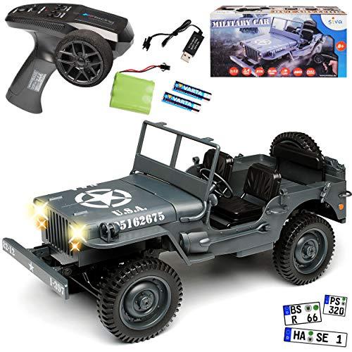 Siva Jeep Willys Truck Grau USA Army 2. Weltkrieg 2,4 GHz RC Funkauto mit Beleuchtung und Akkupack 1/12 Modell Auto