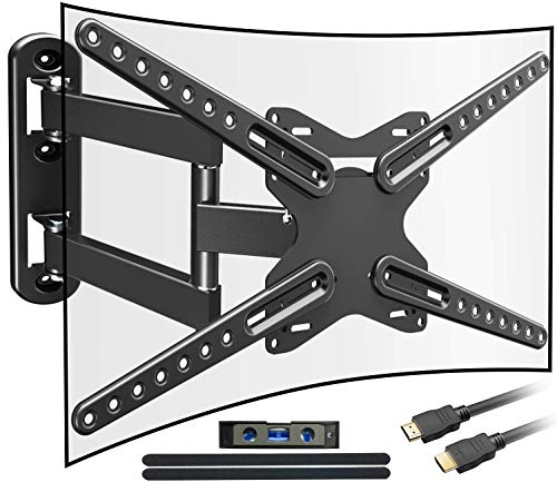 Everstone Heavy Duty Single Stud TV Wall Mount Bracket for Most 32-80 Inch LED,LCD,OLED,Plasma Flat Screen,Curved TVs,with Full Motion Articulating Arm,Up to VESA600x400 and 110lbs