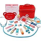 Kinnart Kit médico para niños, set de juego médico, Simulación de madera para niños, niñas, doctor, enfermera, estetoscopio kit médico, casa de juegos juguete, regalo para niños C