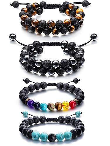 Adjustable Lava Rock Stone Essential Oil Diffuser Bracelet Braided Rope Stone Yoga Beads Bracelets for Men Women (Style F)