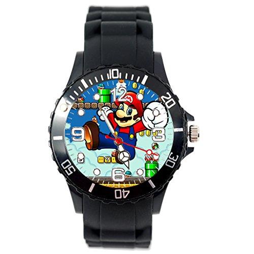 Reloj de cuarzo negro silicona Band bigote