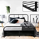 Coavas Double <span class='highlight'>Bed</span> Frame 4ft 6 Solid <span class='highlight'>Bed</span> Frame with 2 Headboard Metal <span class='highlight'>Bed</span> Frame Black For Adults, Teenagers, Only <span class='highlight'>Bed</span> Frame 140x198 cm, New Version