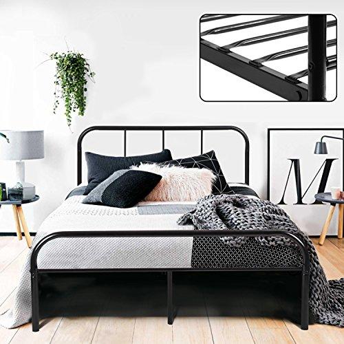 Coavas Doppelbett, Bettgestelle mit Lattenrost, mit 2 Kopfteilen Metallbettgestell, Geeignet für Erwachsene und Jugendliche, Schwarz, 140x200cm