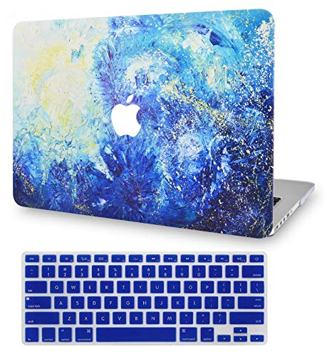 LuvCase 2 in 1 Laptop Case for MacBook Pro 13' (2020) with Touch Bar A2251/A2289 Rubberized Plastic Hard Shell Cover & Keyboard Cover (Blue Splat)