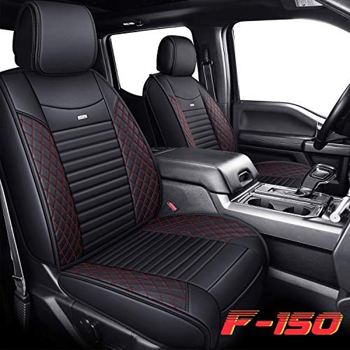 Aierxuan Seat Covers for Cars 2015-2020 Ford F-150 Truck Custom Fit 2017-2020 F250 F350 F450, Waterproof Leather Cushion for Cars SUV(Full Set, Black-Red)