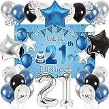 SPECOOL 21 Años Globos Decoración Cumpleaños, Globo Fiesta de Globos Metálicos Azul Plata, Globos Negros para Fiesta de Cumpleaños para Hombres Niño Niña con Hojas de Palmera y Fondo Decorativo (21)