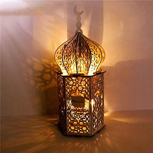 Eid Mubarak Ramadan Dekoration, LED hängen Schmiedeeisen Nachtlicht, Hängende Laternen Ramadan Dekoration, Ramadan Dekoration Lichter, Ramadan Gebetszubehör (C)
