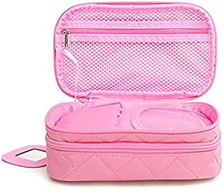 """ONEGenug Cosmetic Makeup Bag & Organizer Double Layer Dot Pattern Travel Toiletry Bag Organizer With Small Mirror 7.87 """"x 4.72 """" x 3.15 """" (Pink)"""