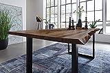 SAM Möbel Outlet Esstisch Baumkante, 200x100 cm, NOAH, Akazie, Nussbaum, U-Gestell schwarz