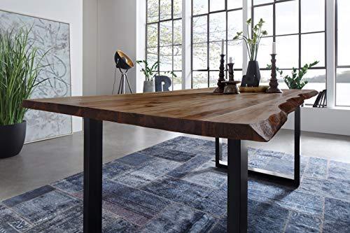 SAM Esszimmertisch 140 x 80 cm Mephisto, Baumkantentisch nussbaumfarben, Akazienholz massiv, U-Gestell aus Metall schwarz