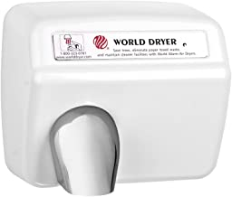 World Dryer XA5-974 Model A Durable Standard Hand Dryer Push Button Finish: Cast Iron White, Voltage: 110-120 V, 20 Amps