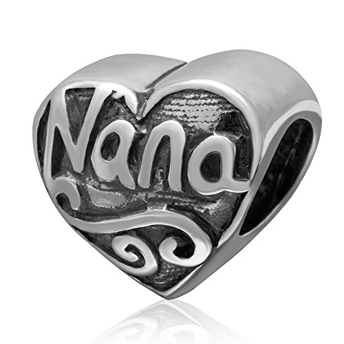 Amoony 925 Sterling Silver Heart Beads Family Grandmother Nana Charms for DIY Charms Bracelet