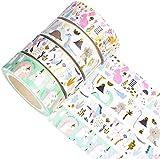 YUBX Oro Washi Tape Set cinta adhesiva decorativa Washi Glitter Adhesivo de Cinta Decorativa para DIY Crafts Scrapbooking 4 Rollos (Animal Gold)