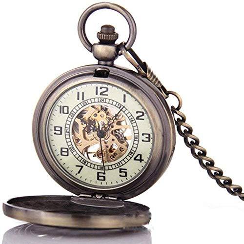 Cadena de bolsillo para hombres, clásico retro hueco flip collar de bolsillo mecánico Patrón personalizado con bolsillos regalo vintage,Copper
