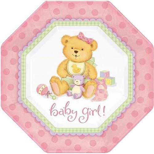 Party America Bear Precious Speiseteller 8Ct Rosa