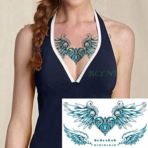 Baobaoshop 3 Piezas Etiqueta engomada del Tatuaje a Prueba de Agua Hermosa Flor Rosa Tatuaje de Gran tamaño Tetas Tetas Cintura para niñas