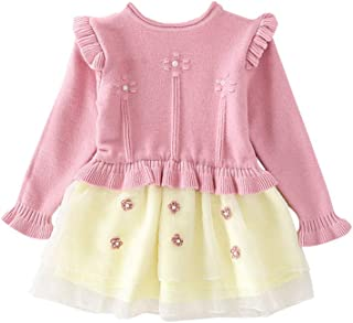 Fairy-Baby Girls Long Sleeve Stitching Style Princess Dress Tutu Skirt for Toddlers Cotton Playwear
