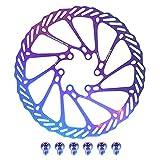 Raspbery Disco De Freno De Bicicleta, Rotor De Freno De Disco G3 / 180mm Rotor De Bicicleta De Acero Inoxidable con 6 Tornillos Coloridos para Bicicleta De Carretera Bicicleta De Montaña MTB Chic