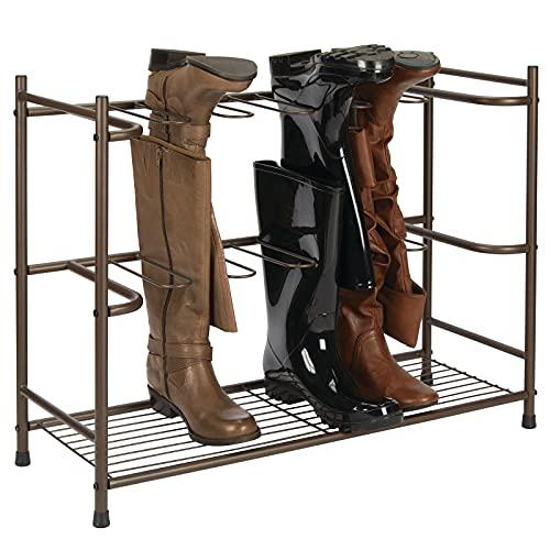 mDesign Stiefelaufbewahrung – Regal zum Stiefel und Schuhe aufhängen – platzsparendes Schuhregal für sechs Paar Regen-, Reit- oder Damenstiefel – dunkelbraun