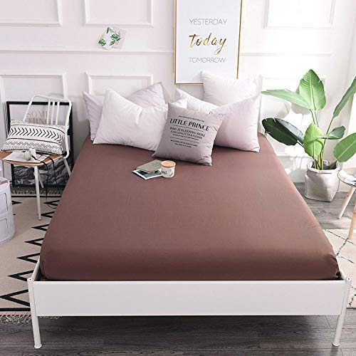GTWOZNB Non Iron Soft Poly-Cotton Plain Dyed Flat Bed Sheet Single, King Available Cotton bed sheet single piece-coffee color a52_200*220cm