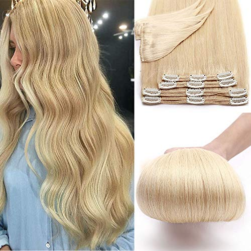 25cm - Extensiones de Pelo Natural Clips Double Weft 【Muy Gruesa】Cabello Humano 8 Piezas 18 Clip 100% Remy Human Hair - [613# Blanqueador Rubia,110g]