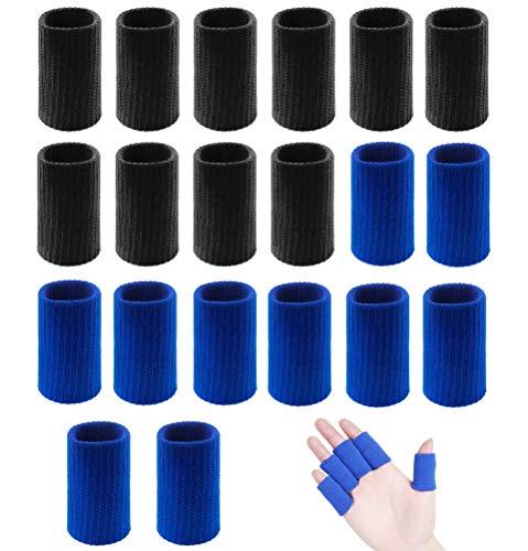 Fantye 20 PCS Finger Sleeves Protectors, Sport Finger Sleeves Thumb Brace Support Finger Brace Elastic Thumb Sleeves for Relieving Pain Arthritis Trigger Finger(Blue Black)
