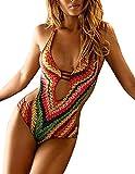 MODETREND Mujer Bikini Push up de Escotado por Detrás Deep V-Neck Monokini Traje de Baño de una Pieza Verde L