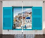 ABAKUHAUS Europeo Cortinas, Ventana Vieja Persianas, Sala de Estar Dormitorio Cortinas Ventana Set de Dos Paños, 280 x 175 cm, Multicolor
