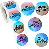 500 Pieces Christmas Envelope Seals Labels Merry Christmas Stickers Roll Adhesive Xmas Seals Stickers Round Shape Adhesive Holographic Stickers Round Christmas Tags for Postcards Envelopes Boxes