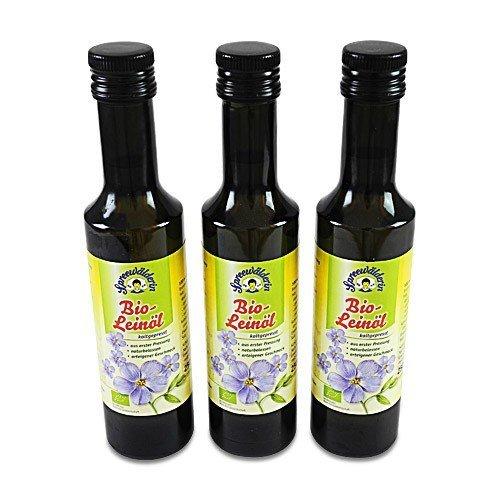 BIO Leinöl kaltgepresst 'Spreewälderin' 3er Pack (3 Flaschen à 250 ml)