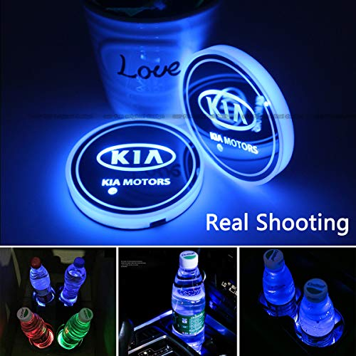 2pcs LED Car Cup Holder Lights for KIA, 7 Colors Changing USB Charging Mat Luminescent Cup Pad, LED Interior Atmosphere Lamp (KIA)