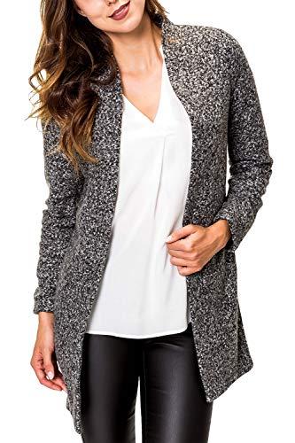 ONLY Damen Long Blazer Kurzmantel Damenjacke Übergangsmantel (L, Dark Grey Melange)
