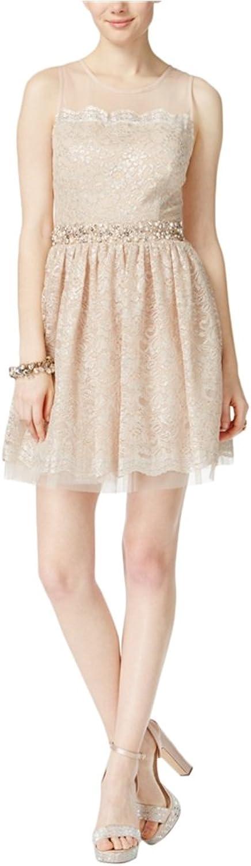City Studio Womens Embellished Lace ALine Dress