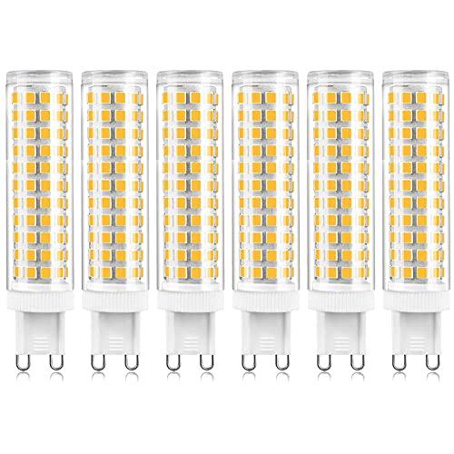 G9 Bombillas LED Regulables 3000K Blanco cálido, 120W 150W G9 Reemplazo halógeno, sin parpadeo G9 15W AC 220-240V Bombillas LED para iluminación colgante de candelabro, 1500LM, Paquete de 6 bombillas