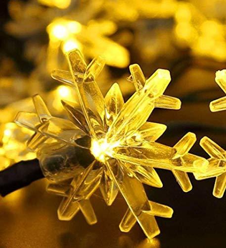 LED Solar Snowflake Light String Decoration Landscape Outdoor Waterproof Garden Light Romantic Warm White 12 Meters 100 Lights