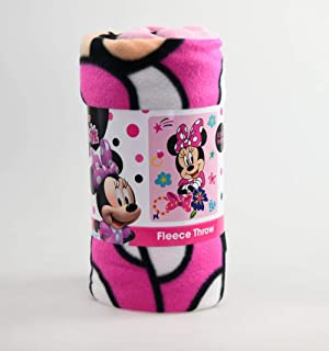 "Disney Kid's Blankets& Throws Minnie Mouse Fleece Blanket, Super Soft & Warm Breathable Fabric Nap Mat, Collectible Novelty Throw for Toddlers, Excellent for Baby Gift - Light Pink 45""x 60"""