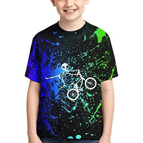 WoodWorths Skeleton-Bmx - Camiseta deportiva de manga corta para niño (talla M, color negro)
