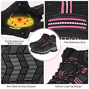 GRITION Womens Hiking Boots Waterproof Winter Walking Shoes Ankle Booties Outdoor High Top Fashion Backpacking Trekking Lace Up Casual Comfortable Ladies Snow Boot (9 US/40 EU, Black/Pink)