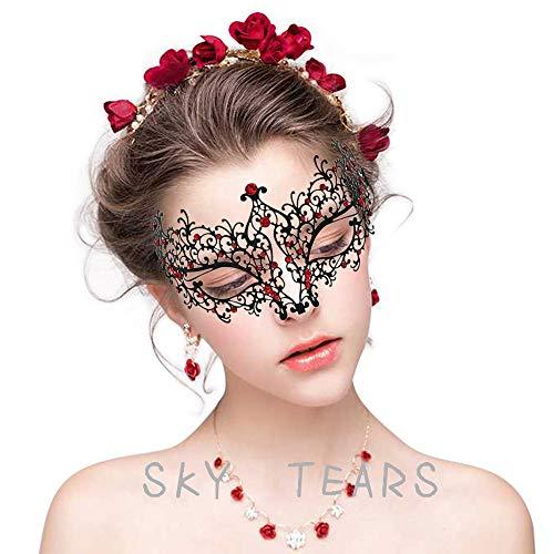 sky tears Mascara Veneciana Mujer Negra Máscara de la Mascarada Metal Laser-Corte de Diamantes de Imitación Noche Baile Veneciano Carnaval Fiesta