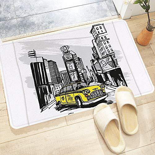 Tapis de Bain Antidérapant,Cabine dessiné à la main jaune à New York Street Cityscape a,Absorbant Tapis de Salle de Bain pour Sortie de Douche Baignoire Toilette Cuisine en Lavable en Machine60x100 cm