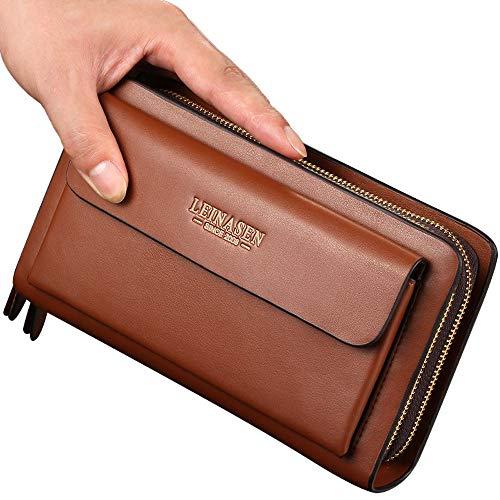 Bolso de mano grande de cuero para hombre, bolso de mano, cartera de viaje, pasaporte de negocios, funda para teléfono celular, funda para tarjetas de crédito para papá y marido...