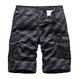 Pantalones Cortos Deportivos Summer Men's Baggy Multi Pocket Military Cargo Shorts Male Cotton Khaki Mens Striped Tactical Shorts Short Pants No Belt 36 Black