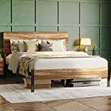 LIKIMIO Full Size Bed Frame, Bed Frame Full with Headboard and Heavy Strong Supports / Noise-Free / No Box Spring Needed / Rustic Brown …