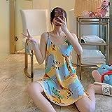 VBHJK Nachthemd,Nachthemd Für Frauencartoon Giraffe Printsoft Kurzarm Halfter Sleepdress Casual Nachtwäsche Chemises Sommer Sweetly Dessous Nightwear, L.