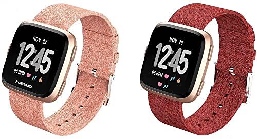 Lienzo Rápida Liberación Reloj de Reemplazo Banda Compatible con Fitbit Versa 2 / Versa 2 SE/Versa Lite/Versa smartwatch, Correas de los Hombres de Las Mujeres (Pattern 4+Pattern 9)