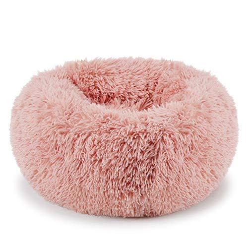 Plush Donut Pet Bed,Dog Cat Round Warm Cuddler Kennel Soft Puppy Sofa,Luxury Cat Cushion Bed Sleeping Bag Orthopedic Relief and Improved Sleep,Anti-Slip Bottom,Machine Washable (L-23.6' x 7.9', Pink)