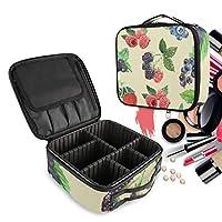 ストロベリーフルーツグレープクリエイティブメイクアップバッグ化粧品バッグトイレタリーケースオーガナイザー調節可能なディバイダー付き無料コンパートメント女性女の子