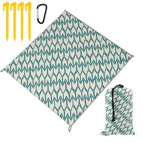 Purchase Hucuery Picnic Blanket 59 X 57 in Peacock Ivory Foldable Waterproof Extra Large Picnic Mat,...