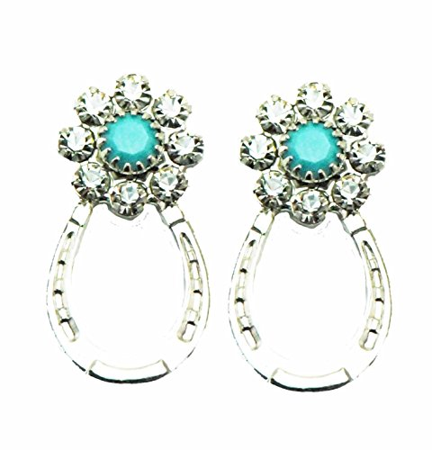 Finishing Touch Horse Jewelry Horseshoe Crystal & Turquoise Earring